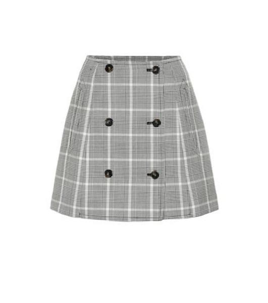 Stella McCartney Checked wool miniskirt in black