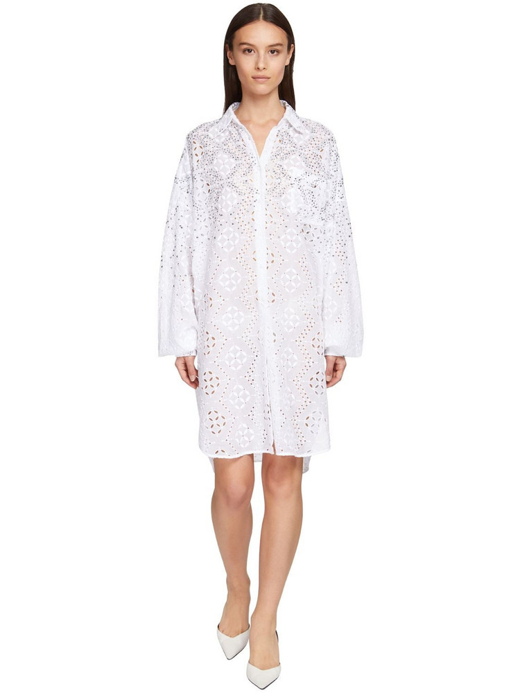 ERMANNO SCERVINO Poplin Eyelet Lace Mini Dress W/crystals in white