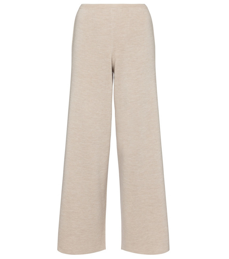 The Row Chuk merino wool and silk knit pants in beige