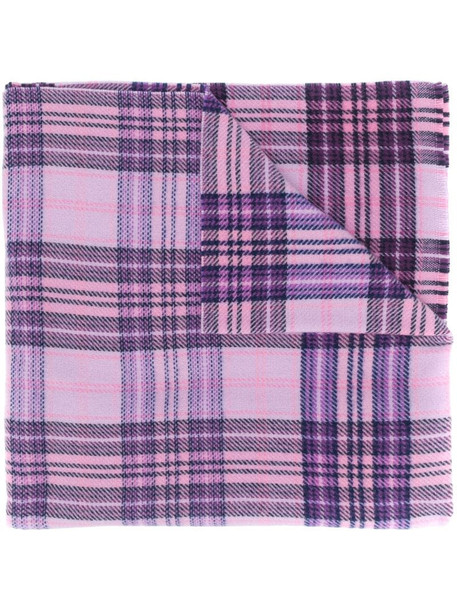 Acne Studios checked logo scarf in pink