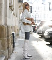 shoes,over the knee boots,white boots,mini skirt,knitted skirt,oversized cardigan,white cardigan,bag