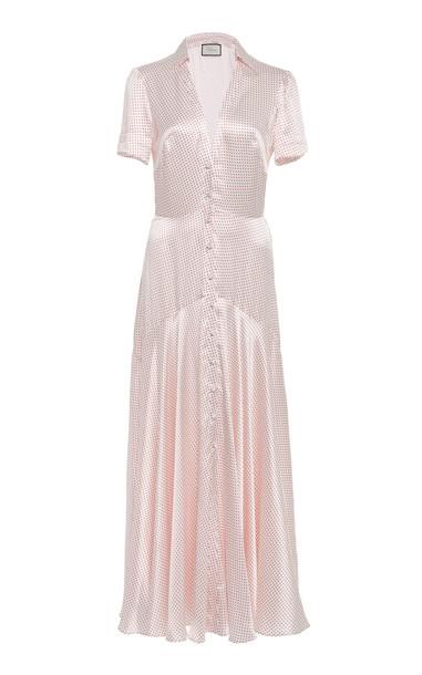 Alexis Athene Polka-Dot -Satin Maxi Dress in pink