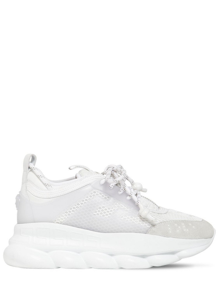 VERSACE Chain Reaction Mesh Sneakers in white