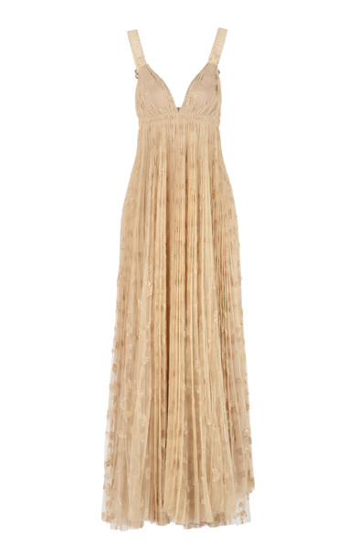Maria Lucia Hohan Shanti Embroidered Tulle Empire Gown Size: 36 in neutral