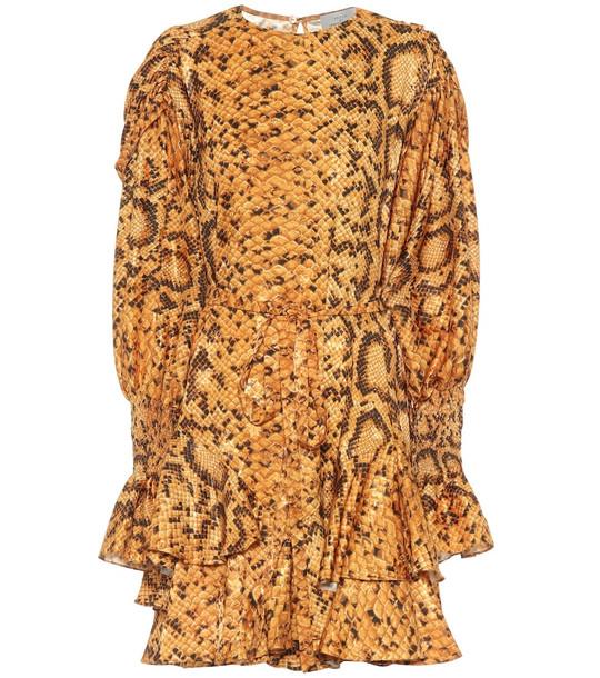 Preen by Thornton Bregazzi Lupita snake-print dress in gold