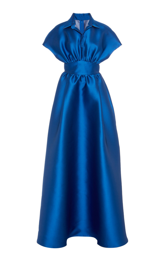 Lela Rose Gathered Duchess Satin Gown Size: 0 in navy