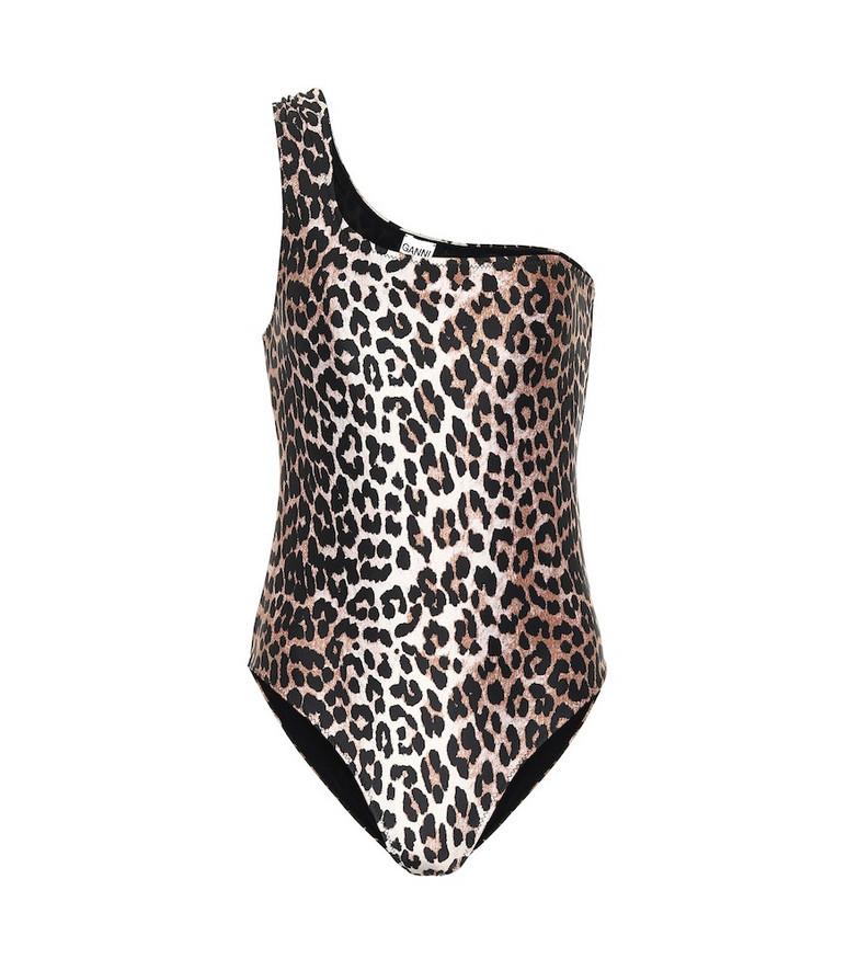 Ganni Leopard-print one-shoulder swimsuit in brown