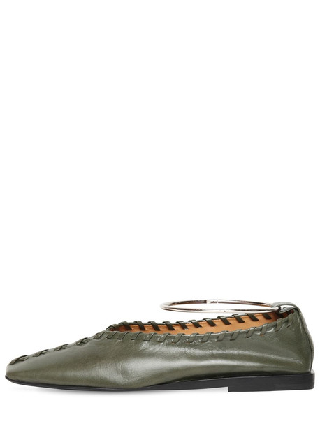 JIL SANDER 10mm Stitched Leather Flats in green
