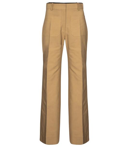 Victoria Beckham Wide-leg cotton-blend canvas pants in beige