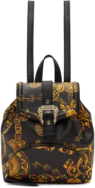 Versace Jeans Couture Black Baroque Buckle Backpack in gold