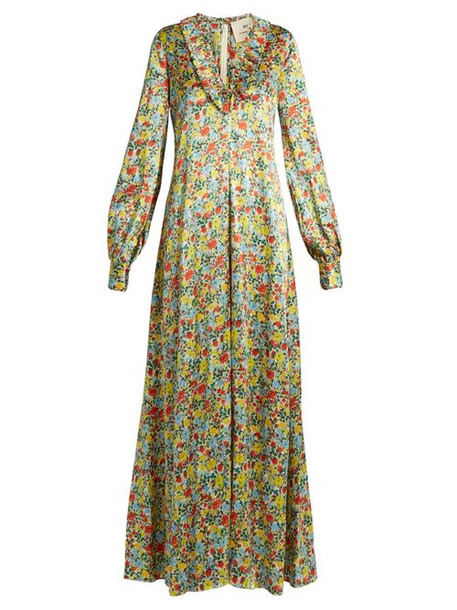 By. Bonnie Young - Floral Print Ruffle Trimmed Silk Gown - Womens - Multi