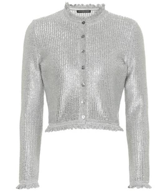 Alexander McQueen Metallic knit cardigan in silver