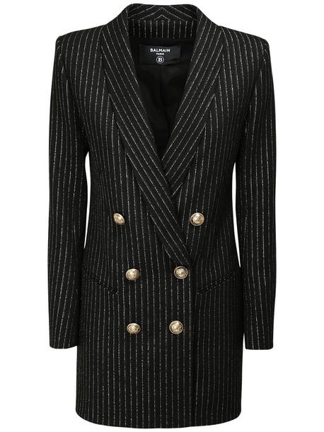 BALMAIN Striped Wool Blend Jacket Mini Dress in black / gold