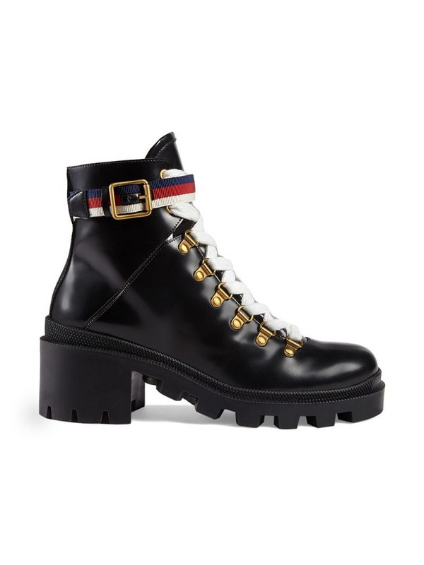 Gucci Leather ankle boot with Sylvie Web in black