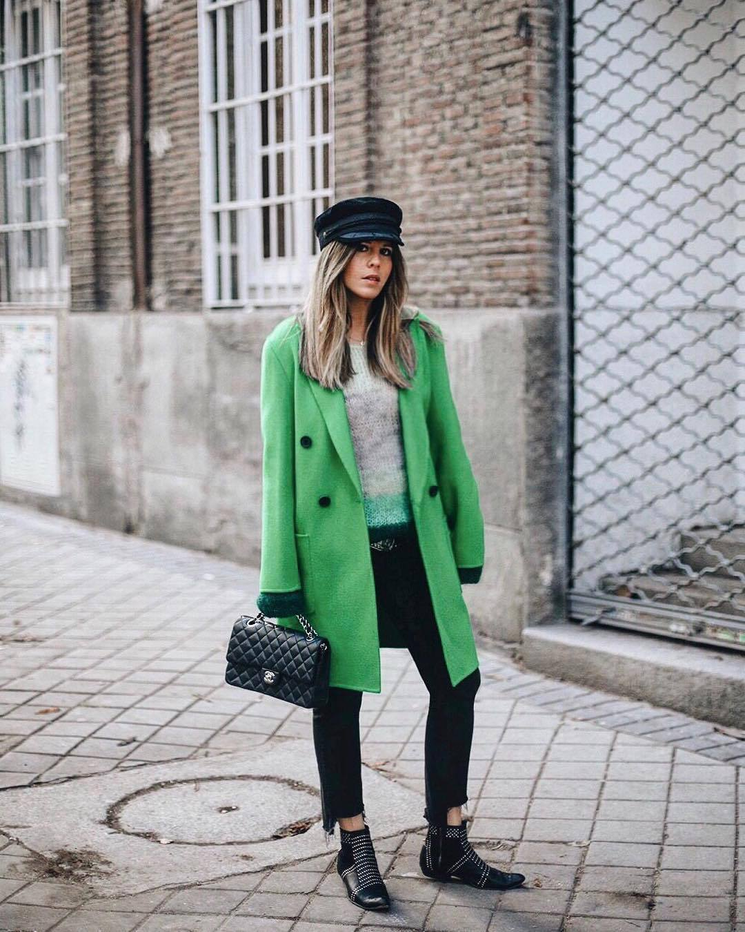 coat green coat wool coat double breasted black boots ankle boots flat boots cropped jeans black skinny jeans black bag chanel bag grey sweater beret