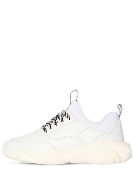 MOSCHINO 30mm Teddy Faux Leather Sneakers in white