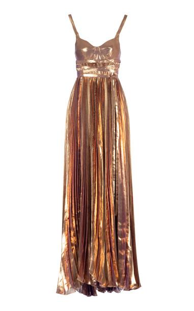 Maria Lucia Hohan Evelina Metallic Plissé Gown Size: 38