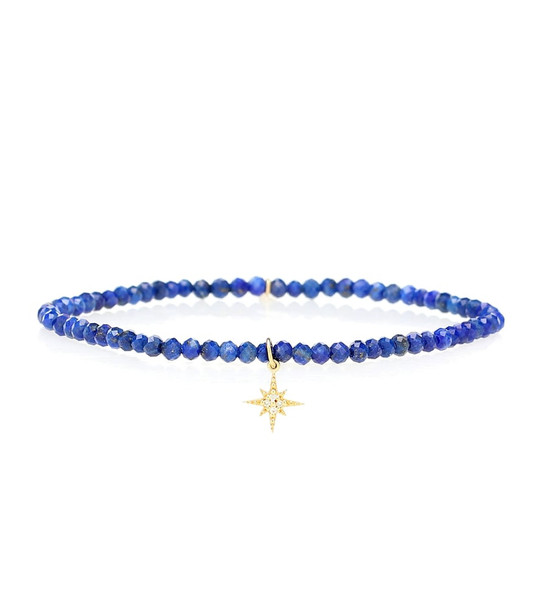 Sydney Evan Beaded bracelet with 14kt yellow gold and white diamonds in blue