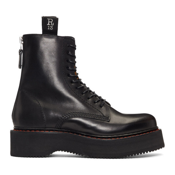 R13 Black Single Stacked Platform Lace-Up Boots