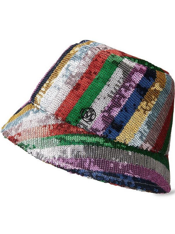 Maison Michel Souna sequin-embellished bucket hat in silver