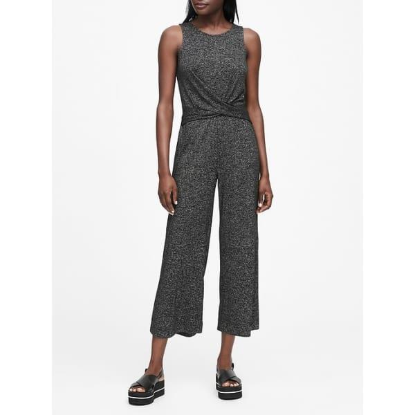 Banana Republic Women's Luxespun Twisted Jumpsuit Dark Charcoal Regular Size XXL