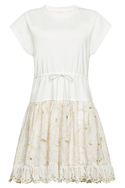 See by Chloé T-Shirt Dress with Eyelet Lace Skirt  in white