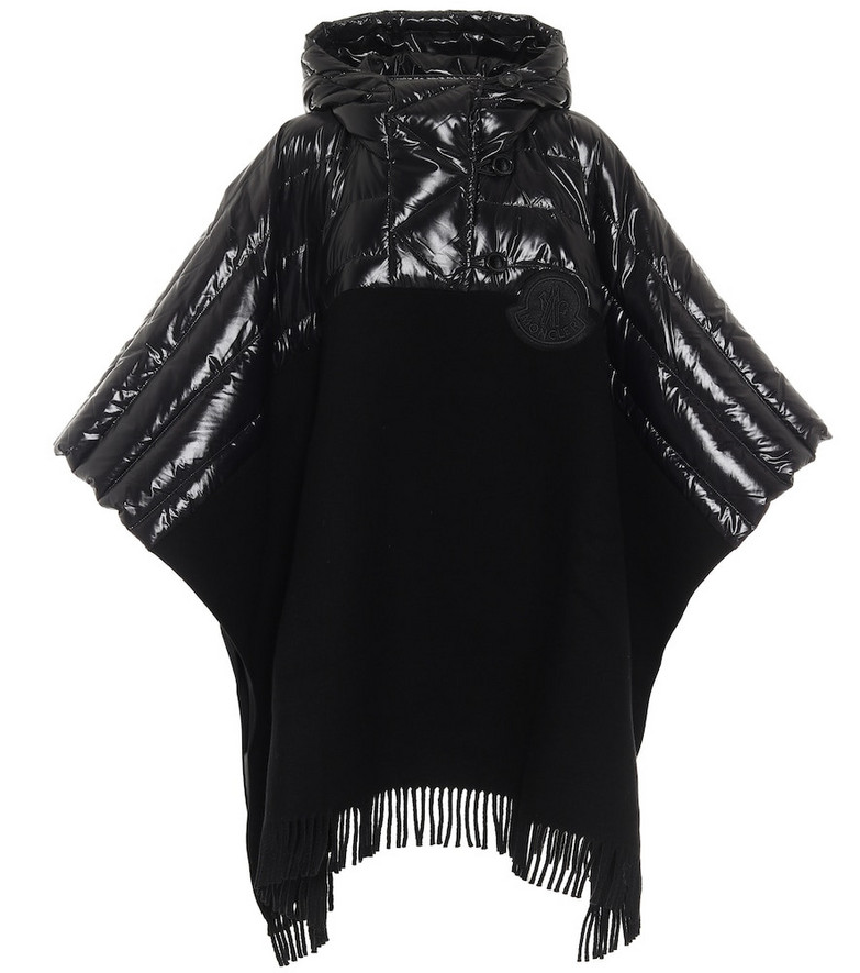 Moncler Down and wool poncho in black