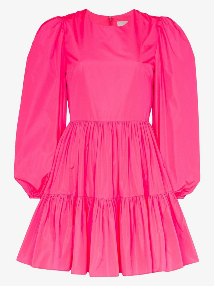 Valentino puff sleeves ruffled mini dress in pink