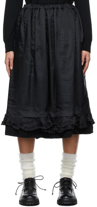 Tricot Comme des Garçons Taffeta Ruffle Skirt in black