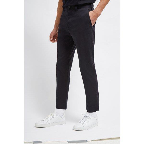 Machine Stretch Crop Tapered Trousers - black