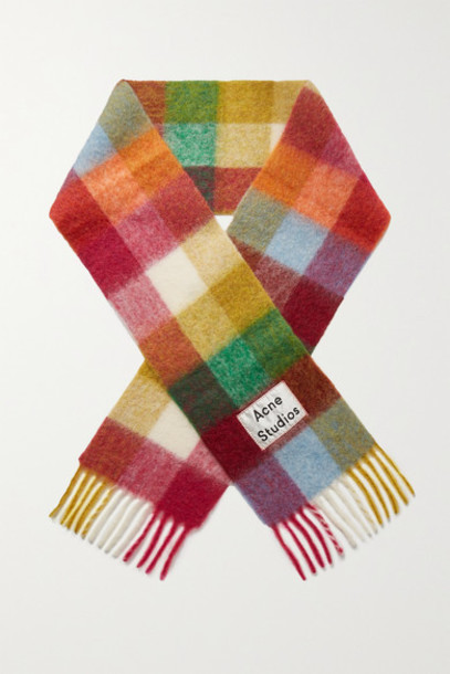 Acne Studios - Valley Fringed Checked Knitted Scarf - Pink