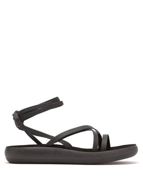 Ancient Greek Sandals - Morfi Wrap Around Leather Sandals - Womens - Black