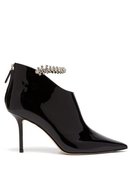 Jimmy Choo - Blaize 85 Crystal Embellished Leather Booties - Womens - Black