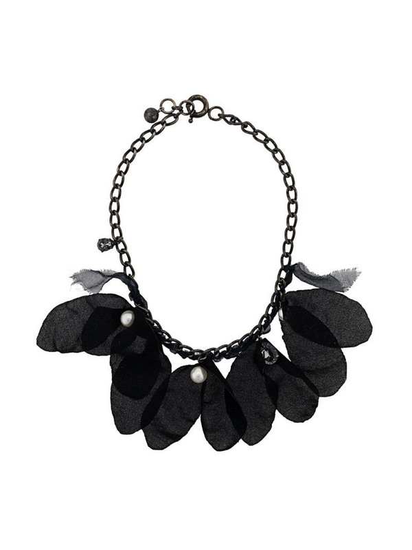 LANVIN feather embellished necklace in black