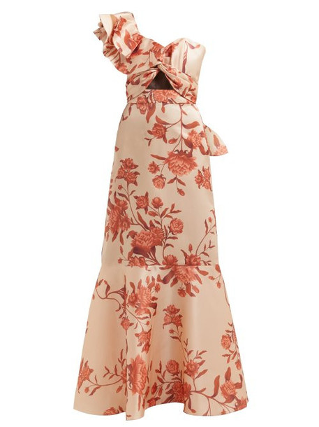 Johanna Ortiz - Encanto One Shoulder Floral Print Silk Gown - Womens - Beige Multi