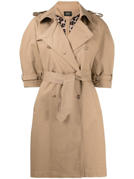 LIU JO three quarter-sleeves belted trench coat - Neutrals