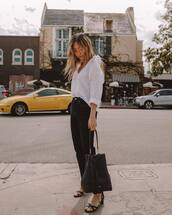 top,white shirt,black jeans,high waisted jeans,black sandals,black bag