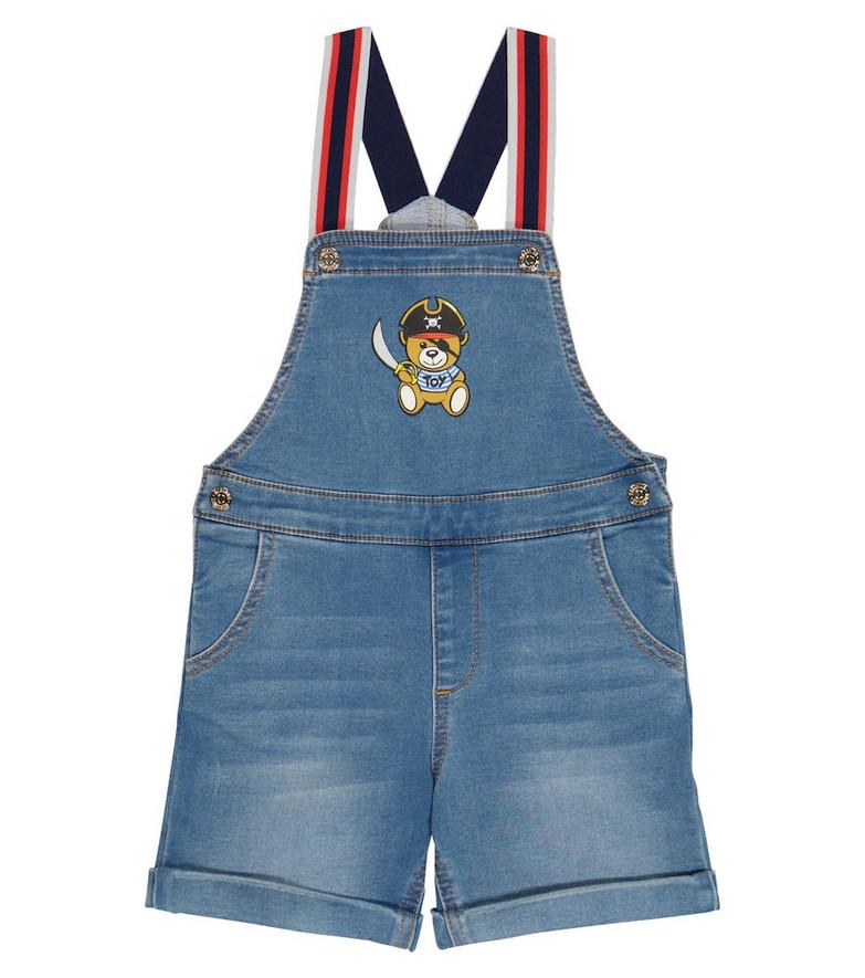 Moschino Kids Baby denim overalls in blue