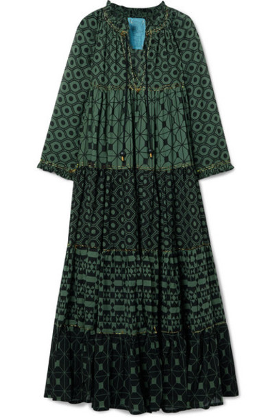 Yvonne S - Hippy Tiered Printed Cotton-voile Maxi Dress - Dark green