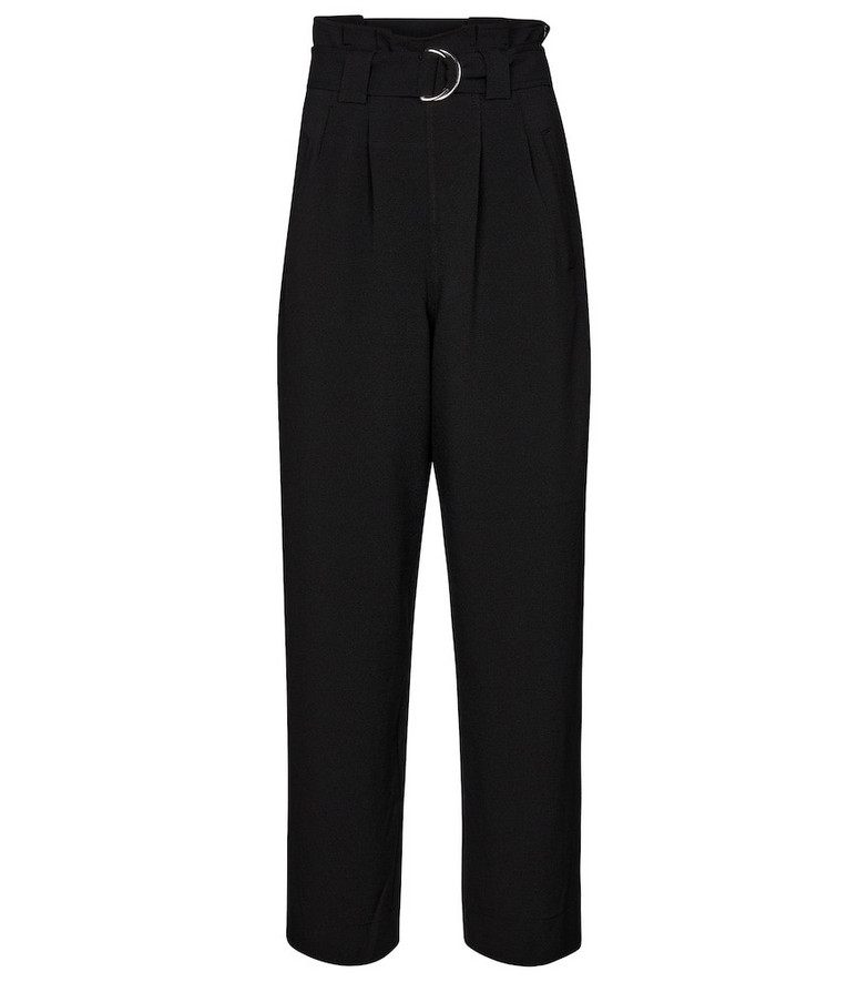 Ganni High-rise crêpe paperbag pants in black