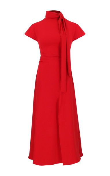 Amal Al Mulla Ruby Red Crepe Flared Midi Dress Size: 8