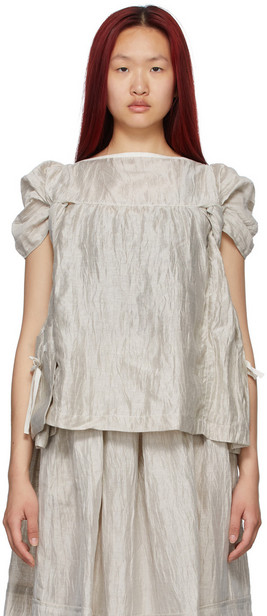 Tricot Comme des Garçons Taupe Nylon Washer Blouse in natural