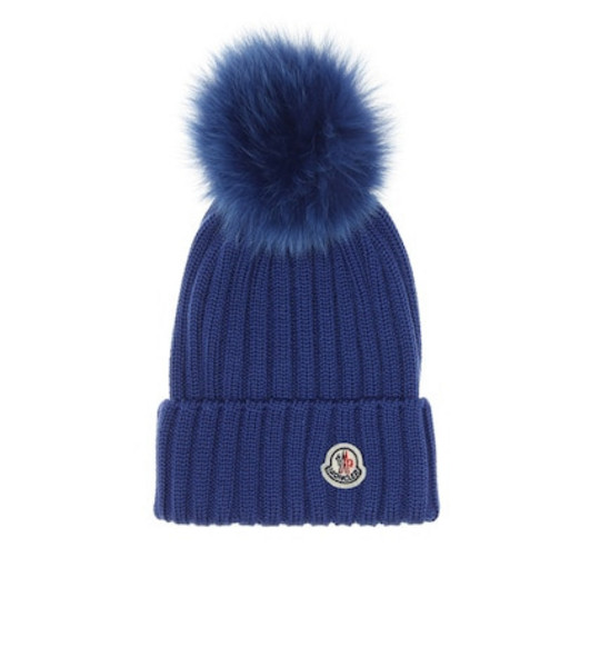 Moncler Fur-trimmed wool beanie in blue