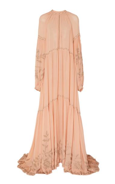 Ulla Johnson Tiana Silk-Chiffon Gown in pink
