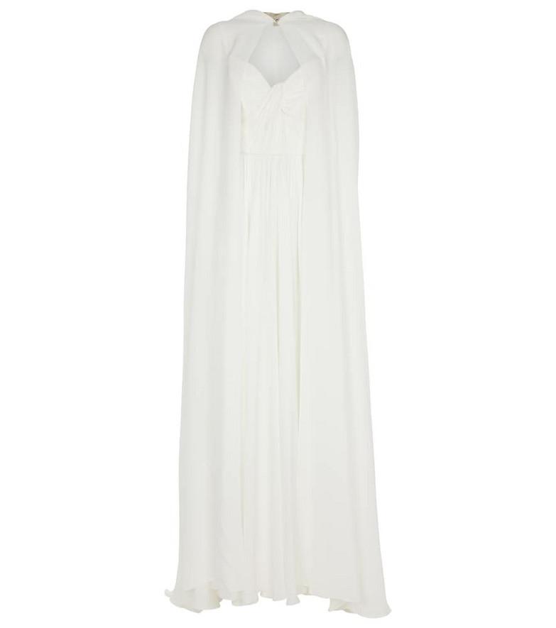ELIE SAAB Silk cape gown in white