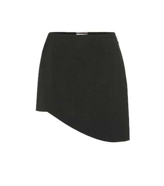 Saint Laurent Asymmetrical crêpe miniskirt in black