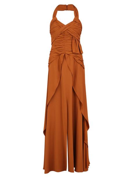 self-portrait Halterneck Dress in brown