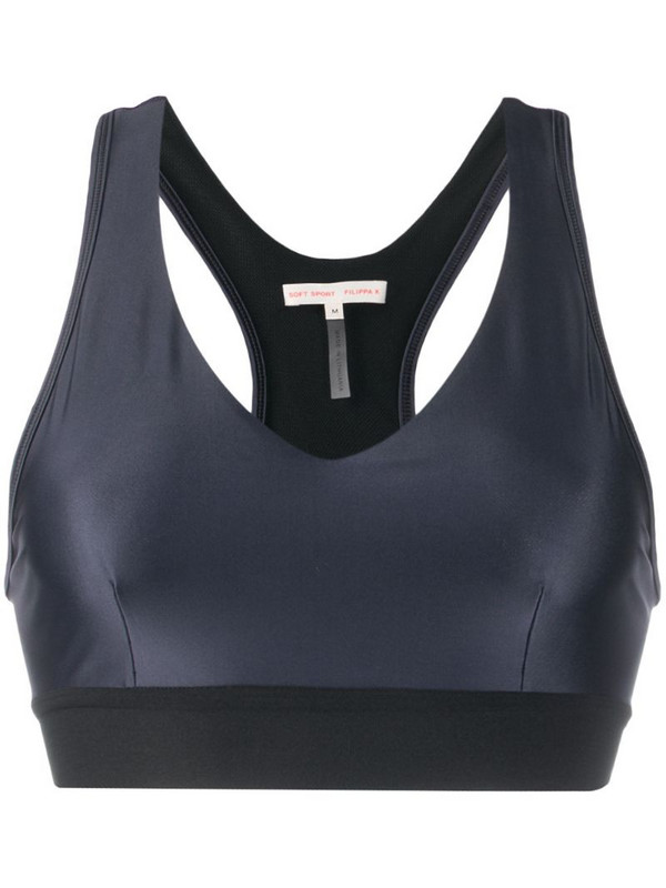 Filippa K Soft Sport gloss-effect sports bra in blue