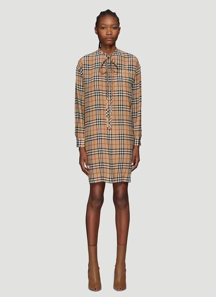 Burberry Vintage Check Tie-Neck Dress in Beige size UK - 10