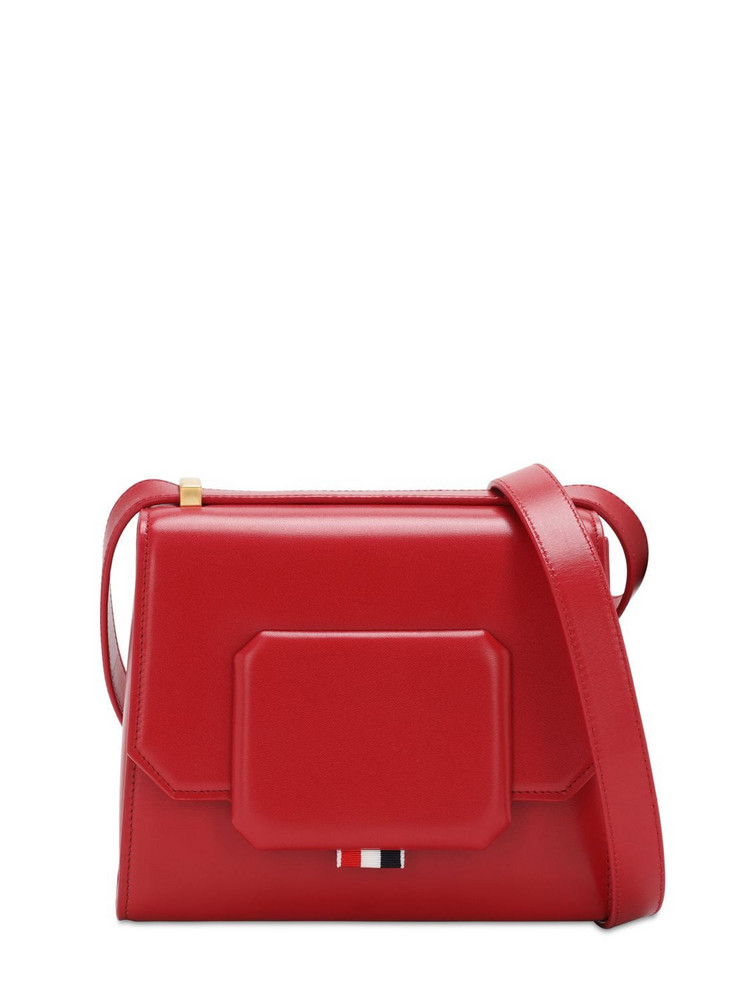THOM BROWNE Small Leather Box Bag in red